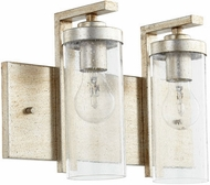 Quorum 503-2-60 Julian Contemporary Aged Silver Leaf w/ Clear/Seeded 2-Light Bathroom Lighting