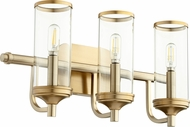 Quorum 5044-3-80 Collins Modern Aged Brass 3-Light Bathroom Lighting Fixture