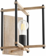 Quorum 5134-1-69 Silva Modern Noir with Weathered Oak Sconce Lighting