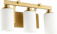 Quorum 5207-3-80 Lancaster Modern Aged Brass 3-Light Vanity Lighting Fixture