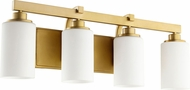 Quorum 5207-4-80 Lancaster Contemporary Aged Brass 4-Light Bath Wall Sconce