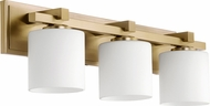Quorum 5369-3-80 Craftsman Aged Brass 3-Light Bathroom Sconce Lighting