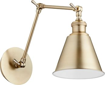 Quorum 5391-80 Metal Cone Modern Aged Brass Swing Arm Wall Lamp