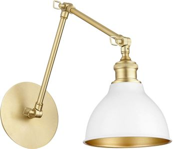 Quorum 5392-0880 Aged Brass with Studio White Wall Swing Arm Lamp