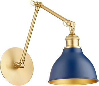 Quorum 5392-3280 Aged Brass with Blue Swing Arm Wall Lamp