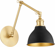 Quorum 5392-6980 Aged Brass with Noir Wall Swing Arm Lamp
