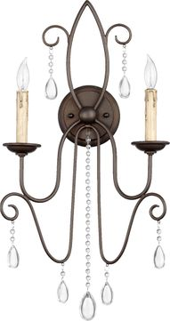 Quorum 5516-2-86 Cilia Traditional Oiled Bronze Wall Lighting Sconce