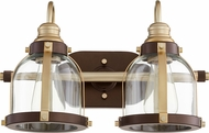 Quorum 586-2-8086 Contemporary Aged Brass w/ Oiled Bronze 2-Light Vanity Light Fixture