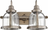 Quorum 586-2-92 Contemporary Antique Silver 2-Light Bathroom Vanity Light Fixture