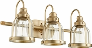 Quorum 586-3-80 Contemporary Aged Brass 3-Light Bath Wall Sconce