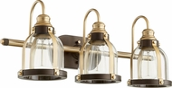 Quorum 586-3-8086 Modern Aged Brass w/ Oiled Bronze 3-Light Bathroom Light Sconce
