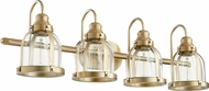 Quorum 586-4-80 Contemporary Aged Brass 4-Light Bathroom Wall Light Fixture