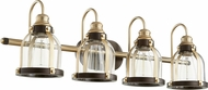 Quorum 586-4-8086 Modern Aged Brass w/ Oiled Bronze 4-Light Bathroom Lighting