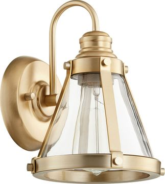 Quorum 587-1-80 Contemporary Aged Brass Wall Sconce
