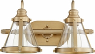 Quorum 587-2-80 Modern Aged Brass 2-Light Bathroom Lighting Fixture