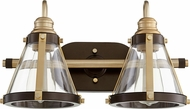 Quorum 587-2-8086 Contemporary Aged Brass w/ Oiled Bronze 2-Light Vanity Lighting