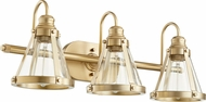 Quorum 587-3-80 Contemporary Aged Brass 3-Light Bathroom Light Fixture