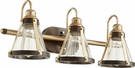 Quorum 587-3-8086 Modern Aged Brass w/ Oiled Bronze 3-Light Bathroom Vanity Lighting