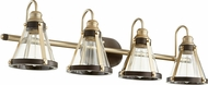 Quorum 587-4-8086 Contemporary Aged Brass w/ Oiled Bronze 4-Light Vanity Lighting Fixture