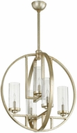 Quorum 603-5-60 Julian Modern Aged Silver Leaf w/ Clear/Seeded 24 Pendant Hanging Light