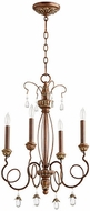 Quorum 6044-4-39 Venice Traditional Vintage Copper Mini Chandelier Lamp