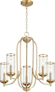 Quorum 6044-5-80 Collins Modern Aged Brass Chandelier Lamp