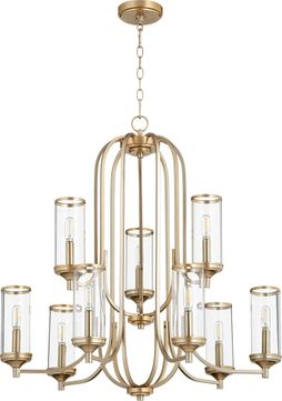 Quorum 6044-9-80 Collins Contemporary Aged Brass Hanging Chandelier