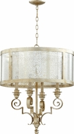 Quorum 6081-4-60 Champlain Traditional Aged Silver Leaf Drum Hanging Pendant Lighting
