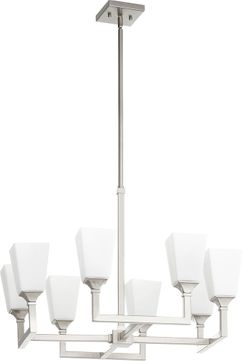Quorum 6123-8-65 Wright Modern Satin Nickel Lighting Chandelier