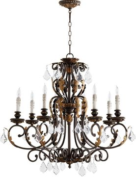 Quorum 6157-8-44 Rio Salado Toasted Sienna With Mystic Silver Chandelier Lighting