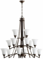 Quorum 6177-15-186 Aspen Oiled Bronze w/ Satin Opal Chandelier Light