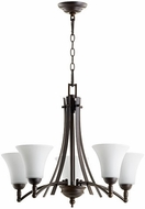 Quorum 6177-5-186 Aspen Oiled Bronze w/ Satin Opal Chandelier Lamp