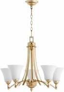 Quorum 6177-5-60 Aspen Aged Silver Leaf w/ Satin Opal Chandelier Light