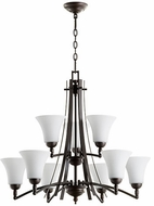 Quorum 6177-9-186 Aspen Oiled Bronze w/ Satin Opal Ceiling Chandelier