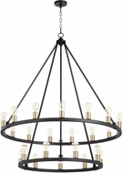 Quorum 64-24-6980 Paxton Noir with Aged Brass 42 Hanging Chandelier