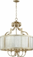 Quorum 6481-6-60 Champlain Traditional Aged Silver Leaf Drum Hanging Light Fixture