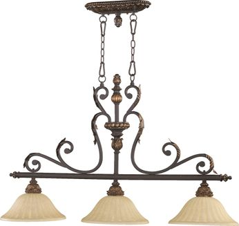 Quorum 6557-3-44 Rio Salado Toasted Sienna With Mystic Silver Kitchen Island Light Fixture