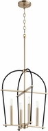 Quorum 687-4-6980 Espy Contemporary Noir w/ Aged Brass 17.25  Foyer Lighting