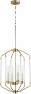 Quorum 6963-4-80 Citadel Modern Aged Brass Foyer Lighting Fixture