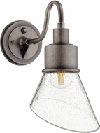 Quorum 733-37 Torrey Contemporary Weathered Zinc w/ Clear/Seeded Outdoor 7.25 Lamp Sconce