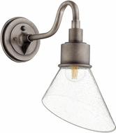 Quorum 734-37 Torrey Contemporary Weathered Zinc w/ Clear/Seeded Exterior 8.5 Lighting Wall Sconce