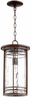 Quorum 7917-9-186 Larson Oiled Bronze w/ Clear Hammered Glass Outdoor Hanging Pendant Light