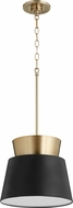 Quorum 8006-6980 Trapezoids Contemporary Noir / Aged Brass Hanging Lamp