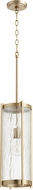 Quorum 810-80 Contemporary Aged Brass w/ Clear Chisseled Glass Mini Ceiling Pendant Light