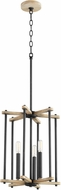 Quorum 8134-3-69 Silva Contemporary Noir with Weathered Oak Foyer Light Fixture