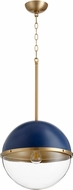 Quorum 83-12-3280 Contemporary Blue w/ Aged Brass 13  Pendant Light
