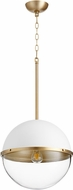Quorum 83-14-0880 Contemporary Studio White w/ Aged Brass 15  Pendant Lamp