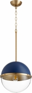 Quorum 83-14-3280 Modern Blue w/ Aged Brass 15  Hanging Lamp