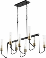 Quorum 895-8-6980 Helix Contemporary Noir with Aged Brass Kitchen Island Lighting