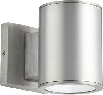 Quorum 920-2-16 Cylinder Contemporary Brushed Aluminum LED Exterior Wall Light Sconce